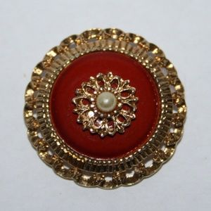 Vintage gold pearl and orange Sarah Cov Brooch